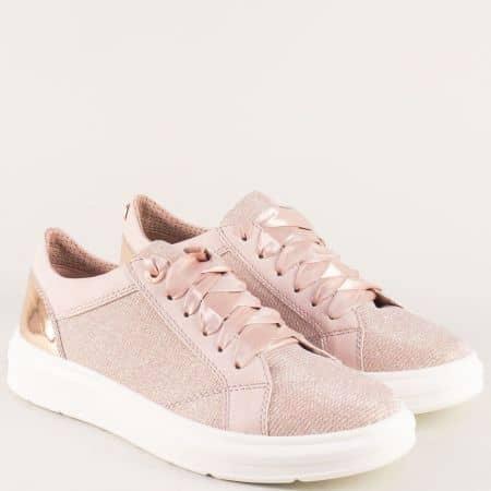 Спортни дамски обувки със сатенени връзки в розов цвят 523617rz