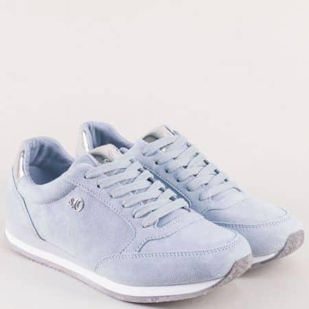 Светло сини дамски маратонки от естествен велур 523630vss