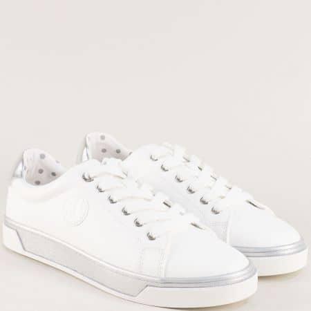 Дамски кецове на равно ходило в бяло и сребро- S. Oliver  523637b