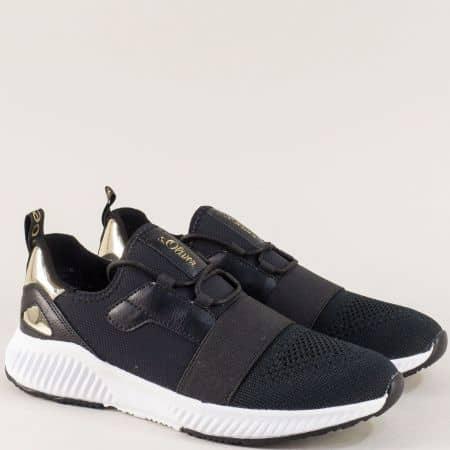 Черни дамски маратонки на бяло ходило- S. Oliver  523645ch