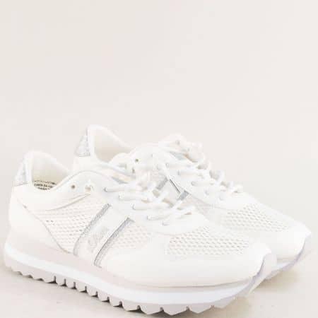 Бели дамски маратонки с ластични връзки- S.OLIVER 523669b