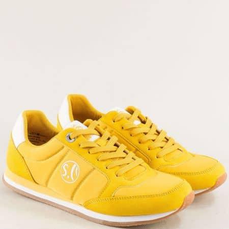 Жълти дамски маратонки с връзки- S.OLIVER 523680j