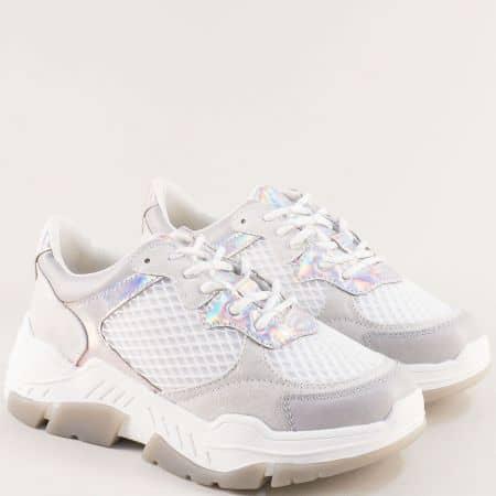 Бели дамски маратонки с връзки на платформа- S.OLIVER 523681b