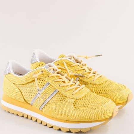 Жълти дамски маратонки с ластични връзки- S.OLIVER 523699j