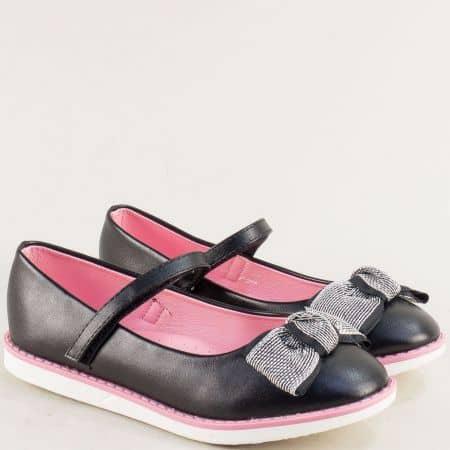 Черни детски обувки с фино коланче и лепка- MAT STAR 524030-35ch