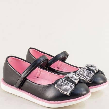 Черни детски обувки с панделка и лепка- MAT STAR 524030-30ch