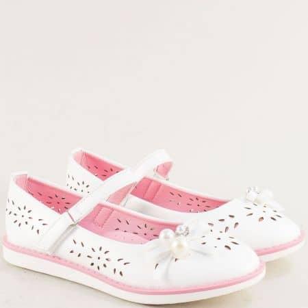 Бели детски обувки с флорална перфорация- MAT STAR 524031b
