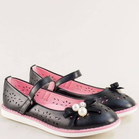Черни детски обувки с флорална перфорация- MAT STAR 524031ch
