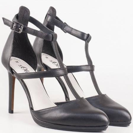 Дамски елегантни обувки на висок тънък ток в черен цвят от утвърдения немски производител S. Oliver 524407ch
