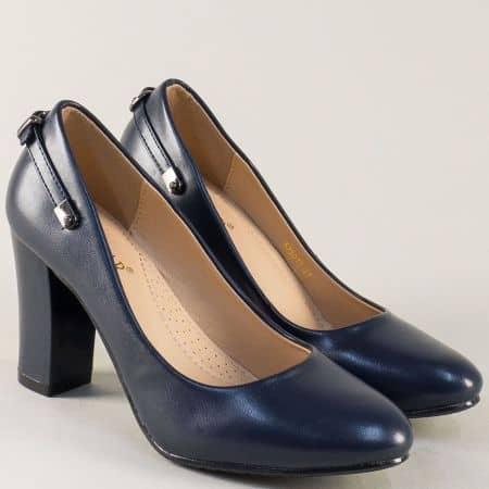 Тъмно сини дамски обувки с катарама на висок ток 525017s
