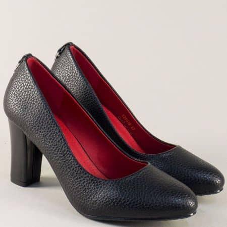 Дамски обувки на стабилен висок ток в черен цвят 525019ch