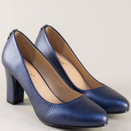 Дамски обувки на висок ток в син цвят с декорация 525019s