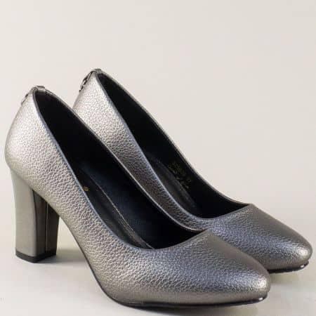Дамски обувки на висок ток в сив цвят с метален блясък 525019sv