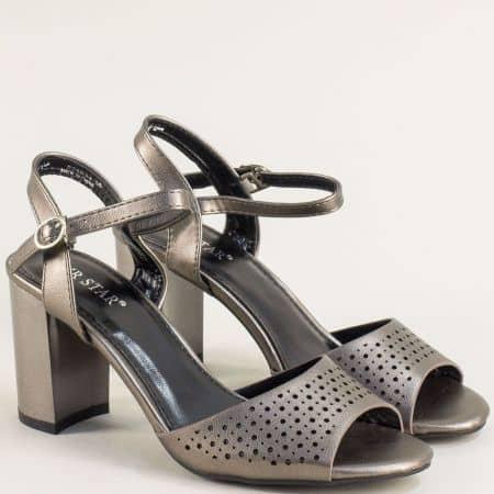 Дамски сандали в бронзов цвят на висок ток 525034brz
