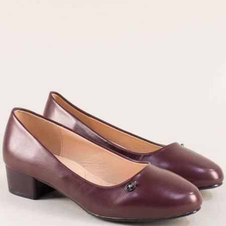 Дамски обувки на нисък ток в цвят бордо- MAT STAR 525044bd