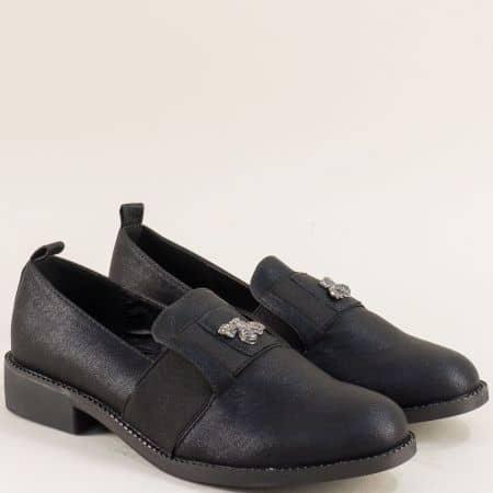 Черни дамски обувки с ластик на нисък ток- Mat Star 525076ch