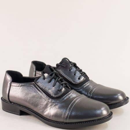 Бронзови дамски обувки на комфортно равно ходило 525085brz