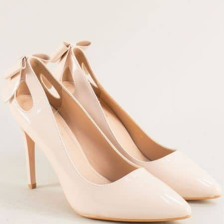 Дамски обувки на тънък висок ток в бежов цвят 525092lbj