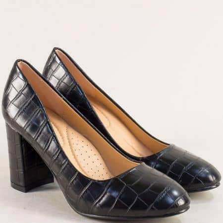 Черни дамски обувки на висок ток с кроко принт- MAT STAR 525093ch