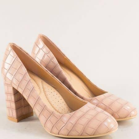 Бежови дамски обувки на висок ток с кроко принт- MAT STAR 525093rz