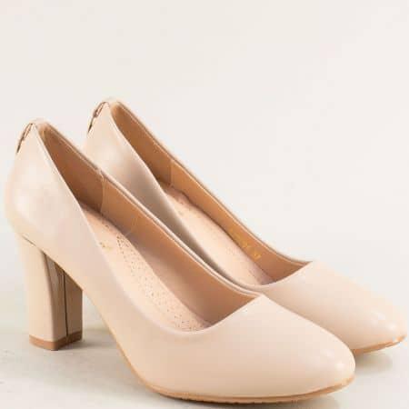 Бежови дамски обувки на стабилен висок ток- MAT STAR 525094bj