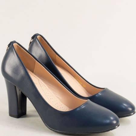 Сини дамски обувки на висок елегантен ток 525094s