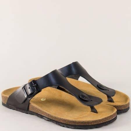 Анатомични дамски чехли от черна естествена кожа 5250ch