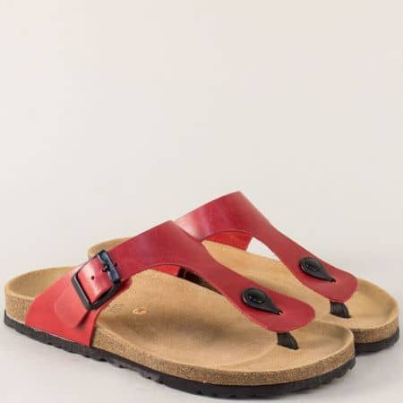 Червени дамски чехли с анатомично ходило от естествена кожа 5250chv