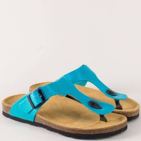 Кожени дамски чехли с лента между пръстите в син цвят 5250s
