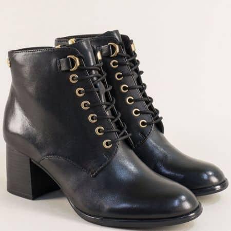 Дамски боти от естествена кожа в черен цвят- S.Oliver 525104ch