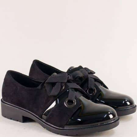 Дамски обувки с връзки в черен цвят- MAT STAR 525108nch
