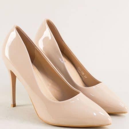 Дамски обувки на елегантен висок ток в бежов цвят 525109lbj
