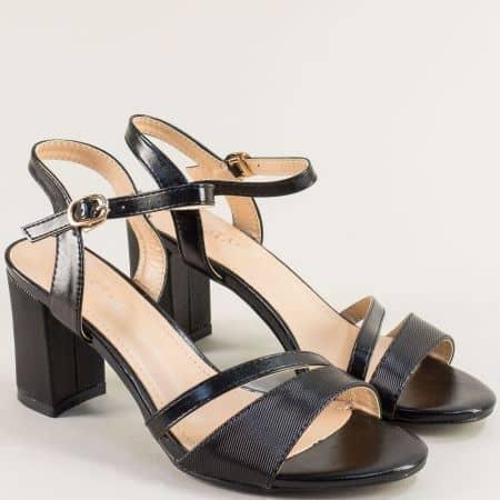 Дамски сандали в черен цвят на стабилен висок ток- MAT STAR 525110ch