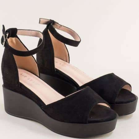 Черни дамски сандали със затворена пета на платформа- MAT STAR 525111nch