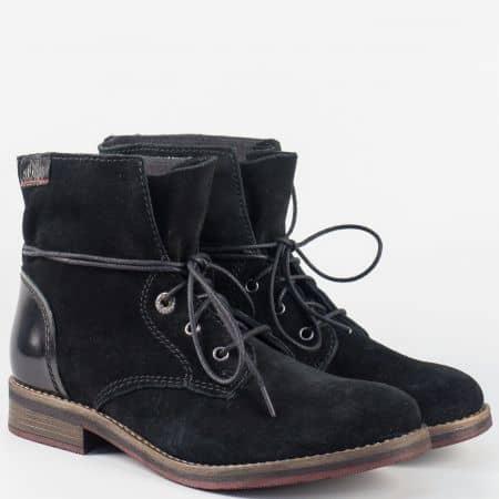 Ежедневни дамски боти в черно от естествен велур на нисък ток 525203ch