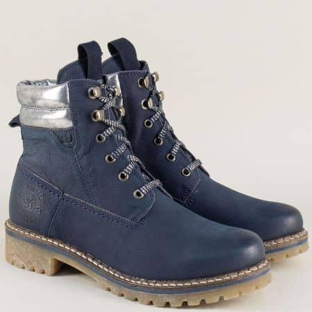 Сини дамски боти на нисък ток от естествена кожа- S. Oliver 525204s
