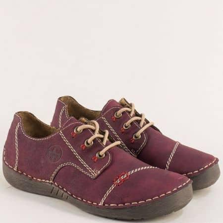 Шити дамски обувки с връзки в цвят бордо- Rieker 52520bd