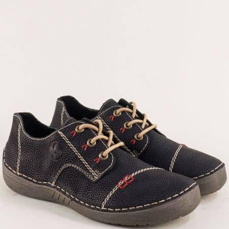 Швейцарски дамски обувки с връзки в черен цвят 52520ch