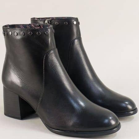 Дамски боти от естествена кожа в черно на среден ток 525304ch