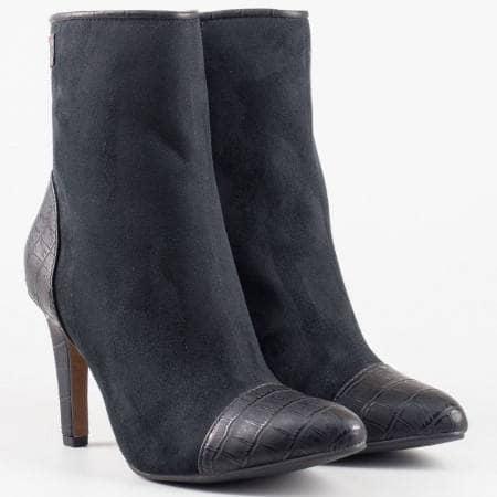 Дамски елегантни боти на висок ток в черен цвят на немската марка S.Oliver 525375vch
