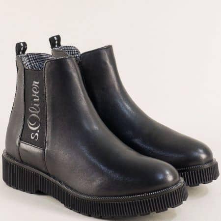Черни дамски боти на платформа от естествена кожа 525416ch