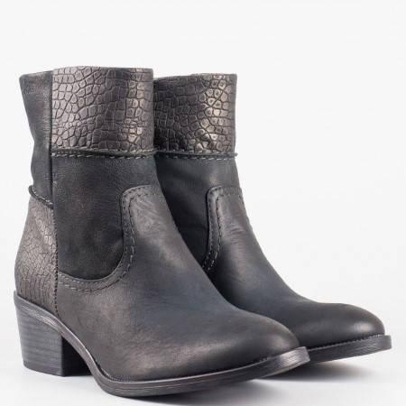 Дамски ежедневни боти в комбинация от естествена и еко кожа на немската марка S.Oliver в черен цвят 525455ch