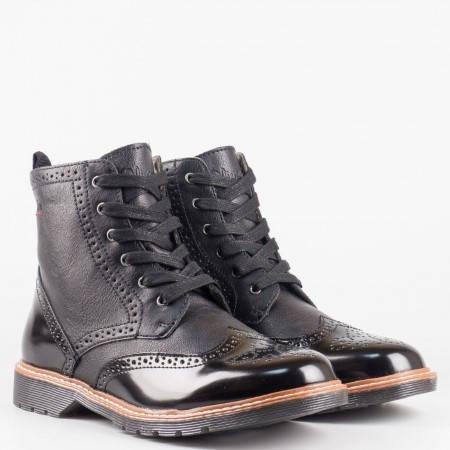 Шити дамски боти в черен цвят с цип и връзки- S.Oliver 525465ch