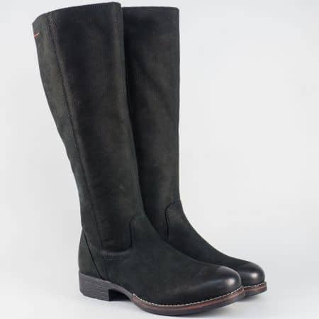 Дамски ботуши- S.Oliver от черен естествен набук на нисък ток  5525501ch