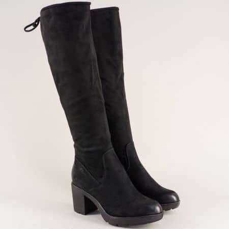 Дамски ботуши в черен цвят на платформа и висок ток 525604vch