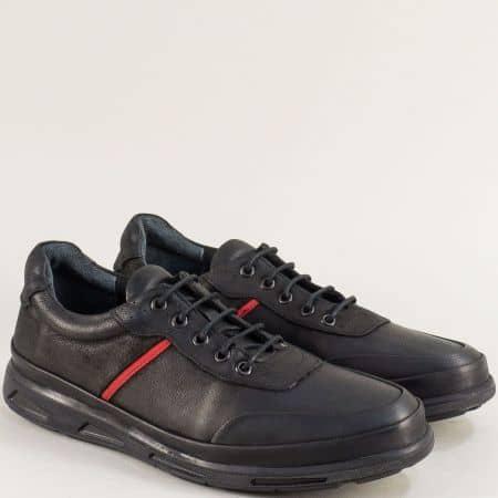 Мъжки обувки с връзки в черен цвят от естествена кожа 525nch