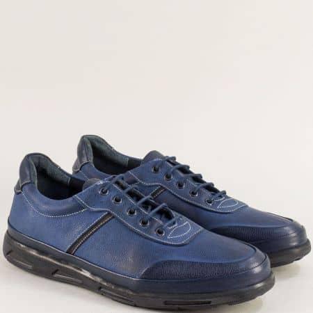 Мъжки обувки с връзки от естествена кожа в син цвят 525ns