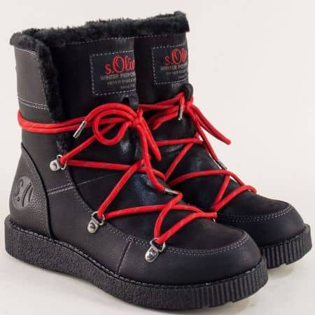 Черни дамски боти с червени връзки и топъл хастар 526459ch