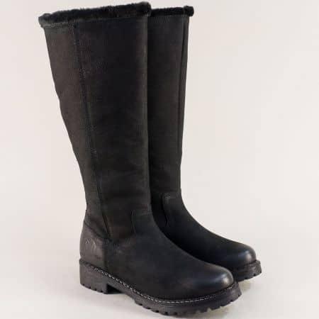 Дамски черни ботуши от естествена кожа S.OLIVER  526603ch
