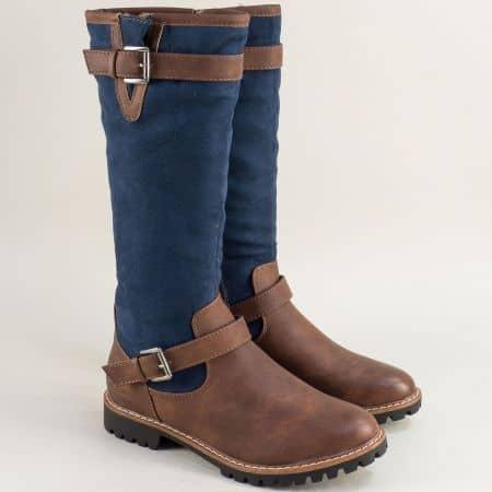 Немски дамски ботуши на равно ходило в син и кафяв цвят 526606sk